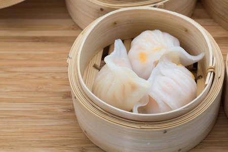 Garnalen knoedel, een zeer populaire Dim Sum in Hong Kong Stockfoto