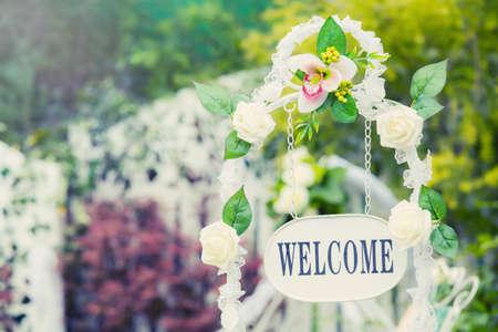 Benvenuti Piastra in luogo di nozze Archivio Fotografico - 39842306