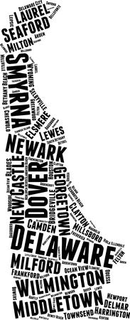Delaware Word Map Word Cloud Typography Concept