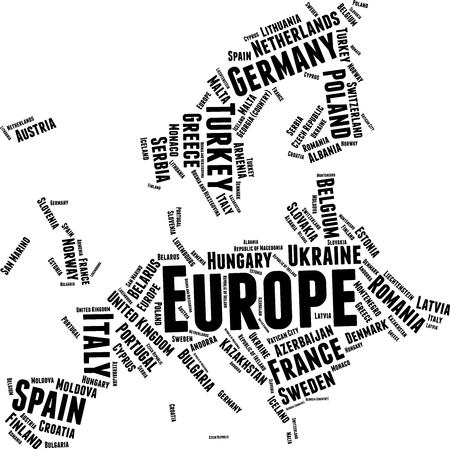 Europe  Word Map Word Cloud Typography Concept Illustration