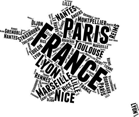 France Word Map Word Cloud Typography Concept Illustration