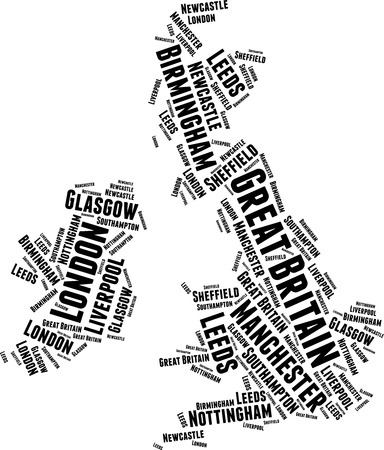 Great Britian Word Map Word Cloud Typography Concept Illustration
