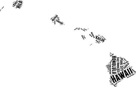 Hawaii Word Map Word Cloud Typography Concept Çizim