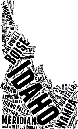 Idaho Word Map Word Cloud Typography Concept