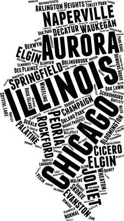 Illinois Word Map Word Cloud Typography Concept