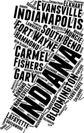 Indiana Word Map Word Cloud Typography Concept