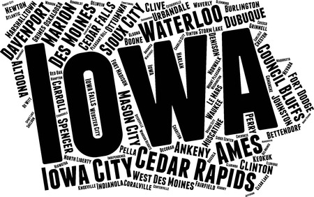 Iowa Word Map Word Cloud Typography Concept