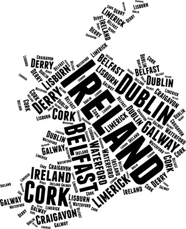 Ireland Word Map Word Cloud Typography Concept Illustration