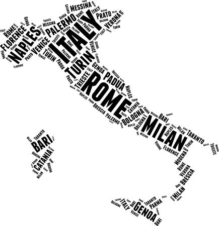 Italy  Word Map Word Cloud Typography Concept Illustration