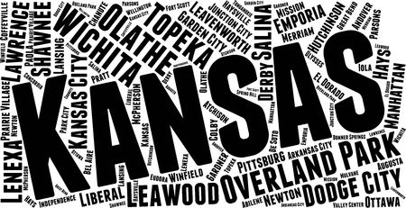 Kansas Word Map Word Cloud Typography Concept