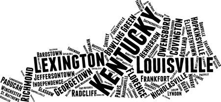 Kentucky Word Map Word Cloud Typography Concept Stockfoto - 105577052