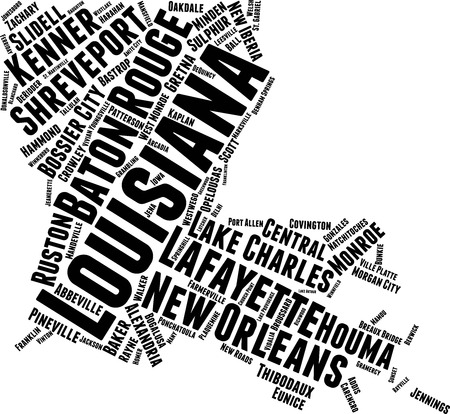 Louisiana Word Map Word Cloud Typography Concept Illustration