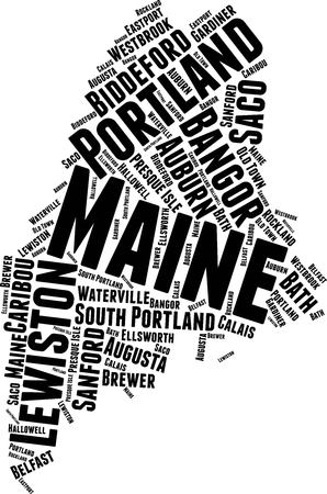 Maine Word Map Word Cloud Typography Concept