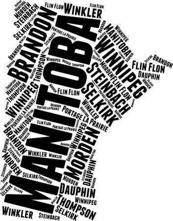 Manitoba Word Map Word Cloud Typography Concept