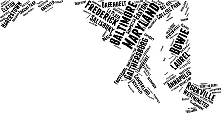 Maryland Word Map Word Cloud Typography Concept
