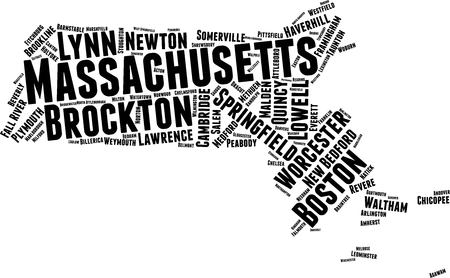 Massachusets Word Map Word Cloud Typography Concept