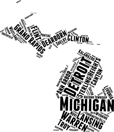 Michigan Word Map Word Cloud Typography Concept  イラスト・ベクター素材