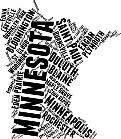 Minnesota Word Map Word Cloud Typography Concept