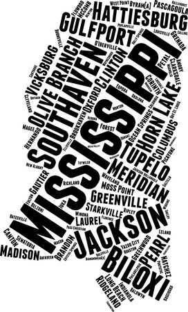 Mississippi  Word Map Word Cloud Typography Concept