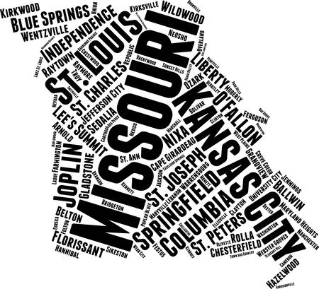 Missouri Word Map Word Cloud Typography Concept Illustration