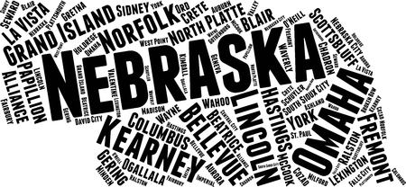Nebraska Word Map Word Cloud Typography Concept Stock Illustratie