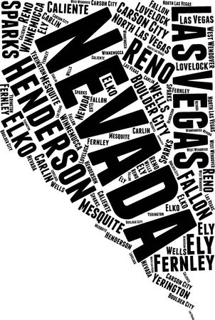 Nevada Word Map Word Cloud Typography Concept Illustration