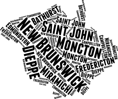 New Brunswick Word Map Word Cloud Typography Concept Stock Illustratie