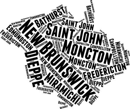 New Brunswick Word Map Word Cloud Typography Concept Stock Illustratie
