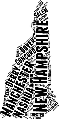 New Hampshire Word Map Word Cloud Typography Concept