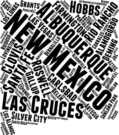New Mexico Word Map Word Cloud Typography Concept