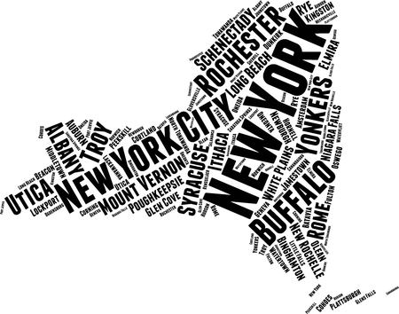 New York  Word Map Word Cloud Typography Concept