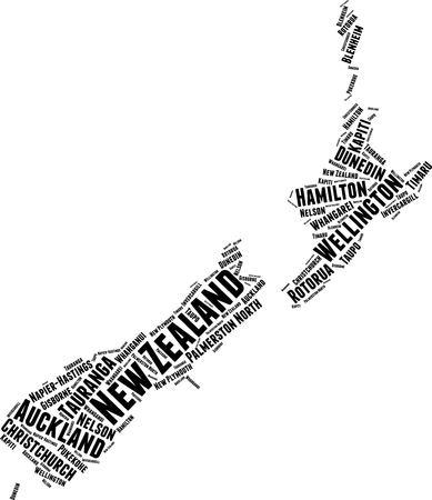 Concepto de tipografía de nube de word de mapa de palabra de Nueva Zelanda