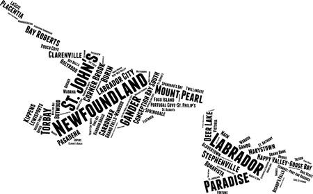 New Foundland and Labrador Word Map Word Cloud Typography Concept