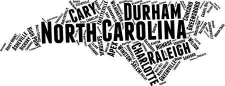 North Carolina Word Map Word Cloud Typography Concept Illustration