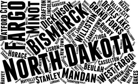 North Dakota Word Map Word Cloud Typography Concept