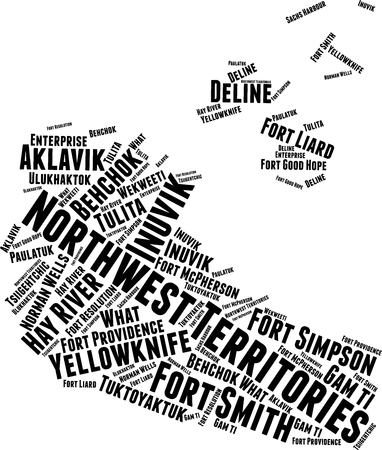 Northwest Territories Word Map Word Cloud Typography Concept Иллюстрация
