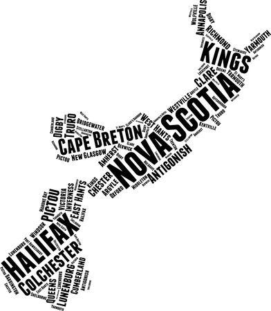 Nova Scotia Word Map Word Cloud Typography Concept