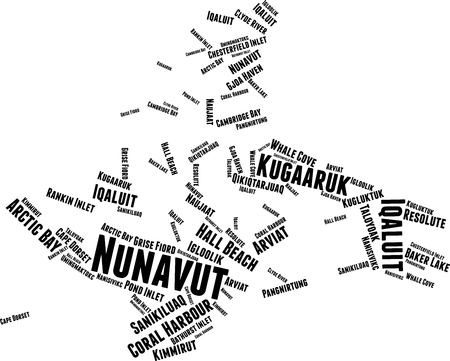 Nunavut Word Map Word Cloud Typography Concept Illustration