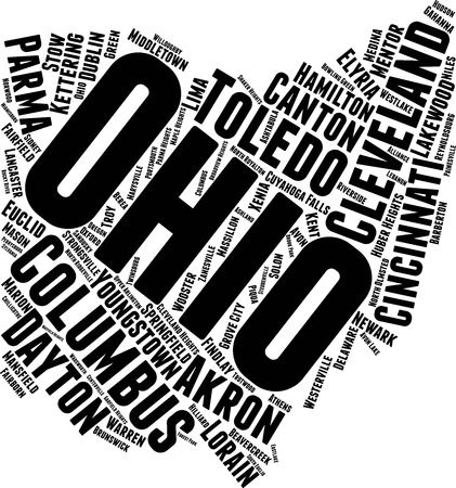 Ohio Word Map Word Cloud Typography Concept