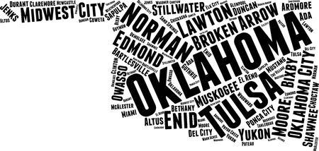 Oklahoma Word Map Word Cloud Typography Concept Иллюстрация