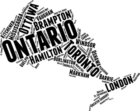 Ontario  Word Map Word Cloud Typography Concept Illustration