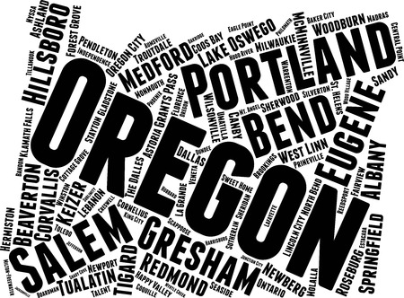 Oregon Word Map Word Cloud Typography Concept Illustration