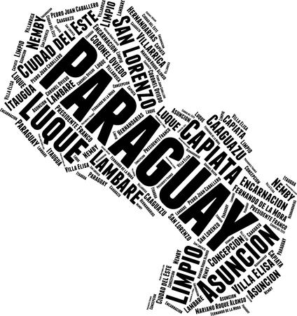 Paraguay Word Map Word Cloud Typography Concept