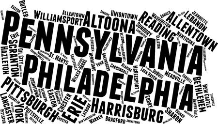 Pennsylvania Word Map Word Cloud Typography Concept