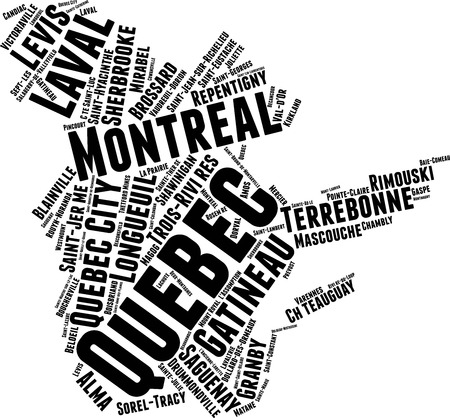 Quebec  Word Map Word Cloud Typography Concept