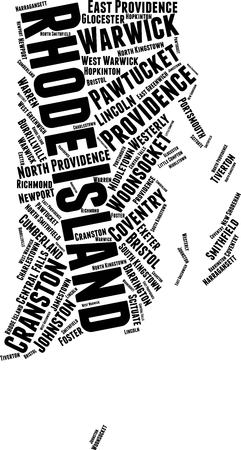 Rhode Island  Word Map Word Cloud Typography Concept