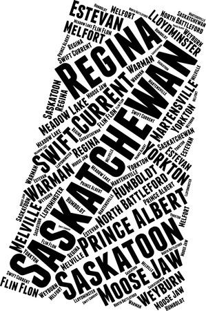 Saskatchewan  Word Map Word Cloud Typography Concept