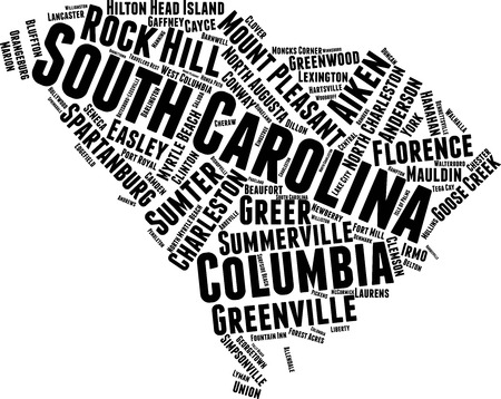 South Carolina  Word Map Word Cloud Typography Concept