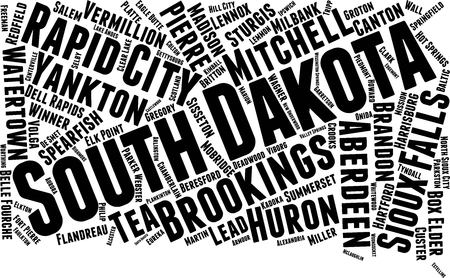 South Dakota  Word Map Word Cloud Typography Concept