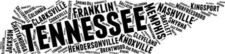 Tennessee Word Map Word Cloud Typography Concept Illustration